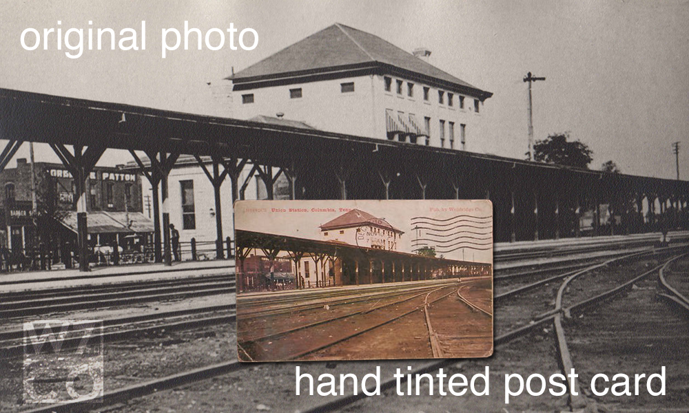 comparison of original photo and a hand tinted post card
